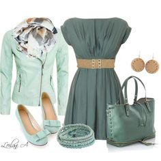 "#polyvore, polyvore, fashions from polyvore ""Outfit with shades of green"""