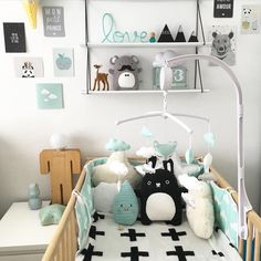mint green and black kid's room Baby Bedroom, Baby Boy Rooms, Baby Boy Nurseries, Nursery Room, Kids Bedroom, Nursery Decor, Baby Room Design, Ideas Hogar, Nursery Neutral