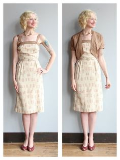 1950s Dress // Café Au Lait Dress & Jacket // by dethrosevintage...I like the style of the dress, I would want one in a different material.