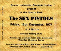 Brunel University, December 16th 1977: Ticket
