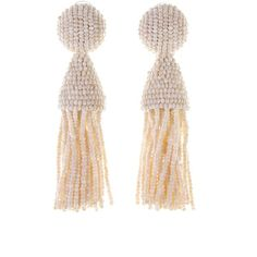 Oscar de la Renta Ivory Classic Short Tassel Earrings (795 TND) ❤ liked on Polyvore featuring jewelry, earrings, glass bead earrings, polka dot earrings, glass bead jewelry, long clip on earrings and long clip earrings