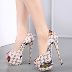 2017 Summer Sexy Girl Fashion GD plaid tarta parrot Print Platform Thin High Heels Women Sandals Peep Toe Woman Wedding Shoes