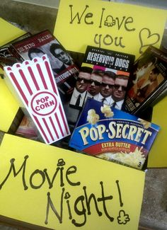Movie night care package for my kids that are away at college... good idea!