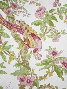 Chintz Wallpaper A wallpaper printed in a classic chintz design of flowing branches and oriental birds in rose and yellow on a pale beige mo...