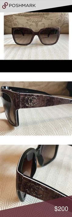 Chanel Sunglasses Like new Chanel sunglasses. Classy and unique. Plastic frame. Gray tweed with brown gradient. CHANEL Accessories Sunglasses