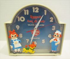 RAGGEDY ANN, ANDY & ARTHUR TALKING ALARM CLOCK 1970's VINTAGE STILL WORKS!