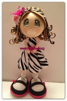 Latest Fofucha With a Zebra Print dress. Handmade using foam sheets and fabric. Can Make a lovely decoration, Gift centerpiece. Like us on facebook.com/fofuchashandmadedolls #fofuchas #pink zebra #crafts