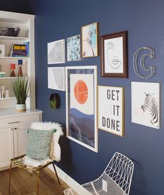 My Office Gallery Wall Tips MadeByGirl My Office Gallery Wall Tips MadeByGirl AS Hanging Display Systems ASHangingSystem Gallery Wall Inspo This bright fun eclectic boho nbsp hellip room decor shelves Office Artwork, Office Wall Decor, Office Walls, Room Decor, Diy Artwork, Office Shelving, Cool Office Space, Eclectic Decor, Eclectic Gallery Wall