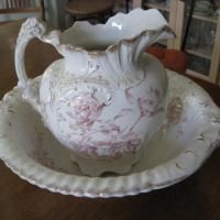 Antique Pitcher and Bowl, Marked H.M. Grindley & Co. Also MArked with PEONY which I assume is the name of the floral pattern on the pitcher & bowl. Dated before 1914