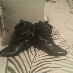 Black ankle booties Cute slip on boots.2 straps with a metal circle detail.Other side is plain.No heel and rubber soles for smooth walking.All man made naterial.Marylou collection from Faded glory. In great condition Faded Glory Shoes Ankle Boots & Booties