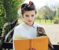 Owl reading with girl vintage photoshoot