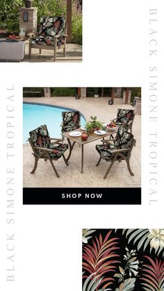 These gorgeous tropical printed outdoor patio cushions are fun and cozy! Patio Chair Cushions, Outdoor Cushions, Patio Chairs, Home Improvement, Tropical, Cozy, Patterns, Printed, Fun