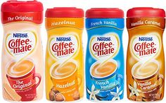 4 Flavor Variety Pack of Coffee Mate Creamer Powder 16 Ounce Original, 15 Oz. French Vanilla and 15 oz. Vanilla Caramel Non-Dairy, Lactose Free, Gluten Free Best Bundle Value.Buy in Bulk and Save 60 Day Money Back Guarantee Non Dairy Creamer, Peppermint Mocha, Dunkin Donuts Coffee, Lactose Free, Gluten Free, Coffee Creamer, French Vanilla, Cream Recipes, Drinking Tea
