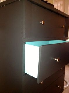 "Paint inside of dresser drawers a fun color for a surprise ""Pop""! 