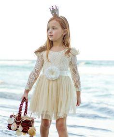 This Ivory Layered Princess Dress - Kids is perfect! #zulilyfinds