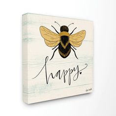 """Stupell Industries 17 in. x 17 in. """"""""Bee Happy Yellow Green Family Word Design"""""""" by Katie Doucette Canvas Wall Art, Multi-Colored Graphic Prints, Graphic Art, I Love Bees, Canvas Wall Art, Canvas Prints, Thing 1, Post Impressionism, Word Design, Bee Happy"""