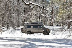 Sportsmobile loaded with Aluminess gear playing in the snow in the So Cal local mountains. Photo cred to Cody's Travel Photography