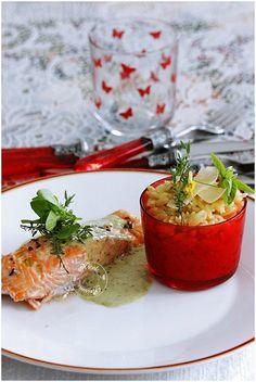 Pavé de saumon, sauce au pesto de basilic et risotto de pâtes