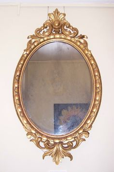 """FOR SALE! Carved Oval Giltwood Mirror, Mid 19th Century, retaining the original plate, 21"""" x 38"""" http://www.domani-devon.com/stock/mirrors/carved-oval-giltwood-mirror-mid-19th-century"""