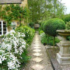 Gardens in White… Beautiful garden inspiration - wonderful boxwood topiaries along the gravel path