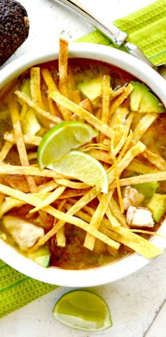 Warm chickeny broth with a hint of lime……lots of chicken…….chunks of avocado……and crunchy tortilla strips!