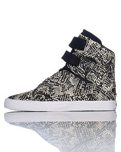SUPRA Womens high top sneaker Lace up closure with velcro straps All-over snake print design Padded tongue Cushioned sole for ultimate comfort