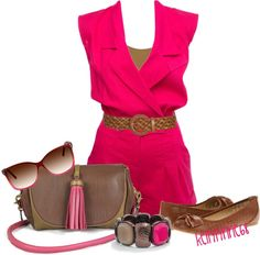 """""""Pink Playsuit with Brown"""" by kellylynne68 ❤ liked on Polyvore"""