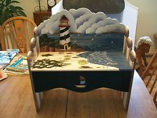 Very Cute Hand Painted Ocean/Lighthouse Scene Wooden Child's Bench