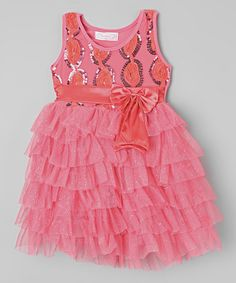 Another great find on #zulily! Peach Sequin Bow Tiered Dress - Infant, Toddler & Girls #zulilyfinds
