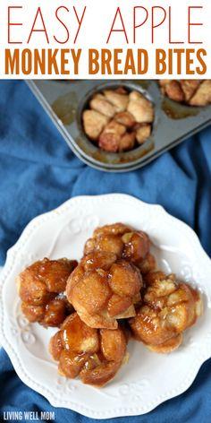 Easy Apple Monkey Bread Bites - - Bursting with cinnamon apple flavor, Apple Monkey Bread Bites is easy enough for kids to help make and they'll love munching on this favorite snack! Mini Monkey Bread, Monkey Bread Muffins, Cinnamon Roll Monkey Bread, Apple Recipes For Kids, Cooking Recipes For Kids, Apple Dessert Recipes, Appetizer Recipes, Bread Bites Recipe, Bread Recipes