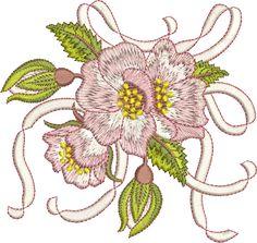 Sue Box Creations   Download Embroidery Designs   09 - Briar & Ribbon Bouquet