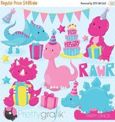 80% OFF Venta cumpleaños dinosaurio partido por Prettygrafikdesign