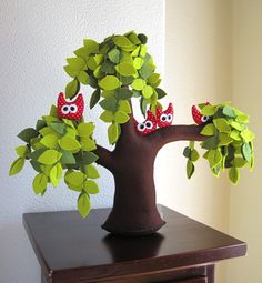 Weeping willow with a family of owls Felt Tree by Intres on Etsy