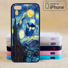 starry night, Doctor Who Phone Case For iPhone 6 Plus For iPhone 6 For iPhone 5/5S For iPhone 4/4S For iPhone 5C-5 Colors Available