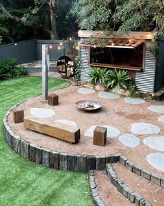 The fires burning. Recycled railway sleepers, deco granite & corten steel along with a mix of Asplenium, Cyathea & Blechnum Silver Lady… Back Gardens, Outdoor Gardens, Acreage Landscaping, Fire Pit Landscaping, Landscaping Ideas, Australian Native Garden, Australian Garden Design, Backyard Creations, Gazebos