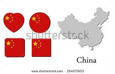 flag and map of china, vector illustration, graphic design, flag china, map  china - stock vector