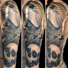 Men Skull Sleeve With Cross Tattoo - http://99tattooideas.com/men-skull-sleeve-cross-tattoo/ #tattoo #tattoos #ink