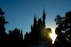 Romantic silhouette portrait shot at Disney's Magic Kingdom