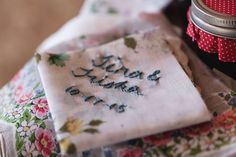 Best Day Ever Tina and Trisha Get Hitched October 17 2015  Hand embroidered hankies