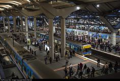 The suburban platforms at Southern Cross Station, Melbourne, as seen in the middle of afternoon peak