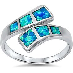 Created Blue Opal New design Fashion 925 Sterling Silver Ring Size 8 -- See this great product.Note:It is affiliate link to Amazon.