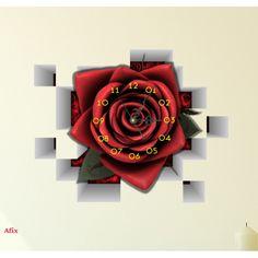 Simple D Wandtattoo Rose mit Uhr Wanduhr
