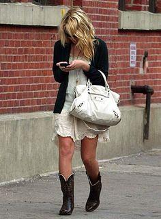 a99e591f68da Ashley in cowboy boots and a Balenciaga nag