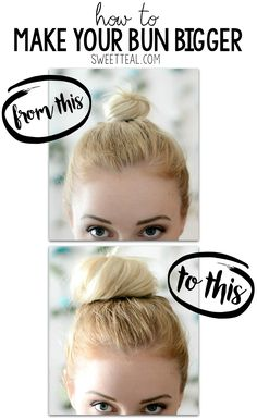 Bigger Bun Video Hair Tutorial How to make your hair bun bigger using hair extensions in a certain way. Super easy and you can't even tell the extensions are in. How To Make Messy Bun, Big Messy Buns, Messy Bun For Short Hair, Thin Hair Updo, Perfect Messy Bun, Short Thin Hair, Big Bun, How To Make Hair, Short Hair Top Knot