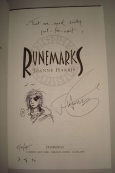/joanne-harris-runemarks-numbered-doodled-signed-first-edition-book-number-7- >>> I have a signed copy of Gospel of Loki, but now I need my Rune books signed too...