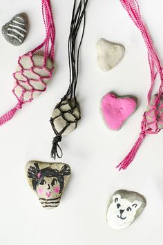 Macrame Rock Necklace - A Summer Craft for Kids (willowday gina vide for The Artful Parent Creative Activities, Craft Activities For Kids, Creative Kids, Rock Crafts, Fun Crafts, Arts And Crafts, Summer Crafts For Kids, Crafts For Kids To Make, Rock Necklace