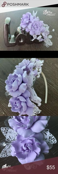 🌸 Wedding Gardenia Flower Crown🌸 Wedding Gardenia Flower Crown with butterflies. Bridal Hair Wreath, Wedding Hair Accessories, Floral Crown. Gardenia Hair band.   Handmade. Flower 🌺 made from polymer Deco clay and for many years remain fresh, bright and beautiful. Very light, almost weightless. Accessories Hair Accessories