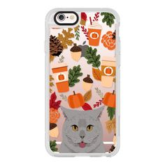 British Shorthair grey cute cat meme cell phone case for autumn fall... ($40) ❤ liked on Polyvore featuring accessories, tech accessories, iphone case, cat iphone case, iphone hard case, iphone cases, iphone cover case and apple iphone cases