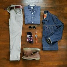 Outfit grid - Stone chinos & denim