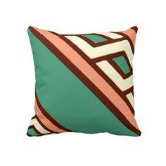 Geometric Jade Salmon Moyen Age Medieval Design Pillow